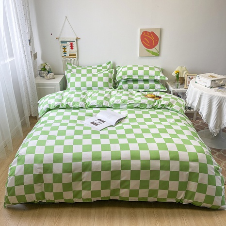 wholesale green plaid pattern printing bedding four-piece set nihaojewelry  NHGAD402146's discount tags