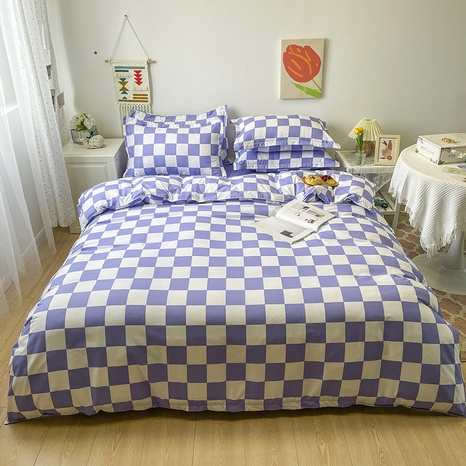 wholesale purple plaid pattern printing bedding four-piece set nihaojewelry  NHGAD402145's discount tags