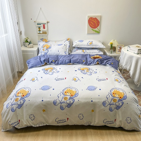wholesale cartoon space bear pattern printing bedding four-piece set nihaojewelry  NHGAD402143's discount tags
