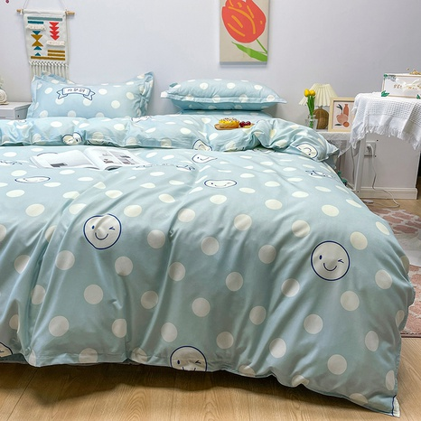 wholesale smiley face polka dots pattern printing bedding four-piece set nihaojewelry  NHGAD402144's discount tags