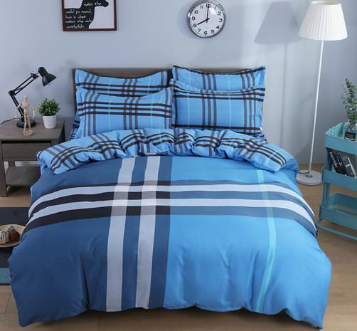 wholesale blue plaid stripe pattern printing bedding four-piece set nihaojewelry  NHBWJ402110's discount tags