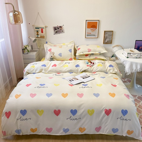 wholesale color heart letter printing bedding four-piece set nihaojewelry  NHGAD403092's discount tags
