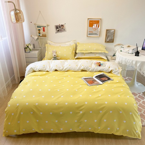 wholesale yellow heart printing bedding four-piece set nihaojewelry  NHGAD403090's discount tags
