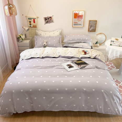 wholesale gray heart printing bedding four-piece set nihaojewelry  NHGAD403089's discount tags