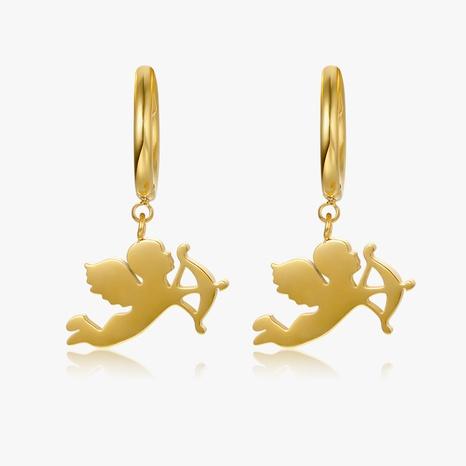 Cupid little angel titanium steel ear buckle wholesale Nihaojewelry NHGC402209's discount tags