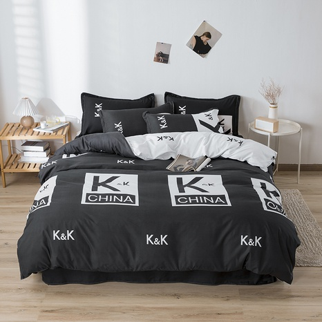 wholesale letter printing black bedding four-piece set nihaojewelry  NHGAD403086's discount tags