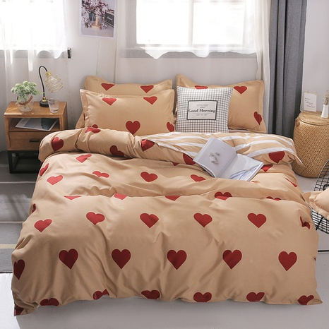 wholesale red large heart printing bedding four-piece set nihaojewelry  NHGAD403085's discount tags