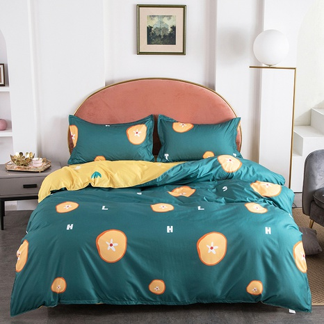 wholesale grapefruit printing green bedding four-piece set nihaojewelry  NHGAD403083's discount tags