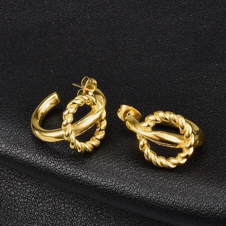 twist double line titanium steel stud earrings wholesale Nihaojewelry NHAB402323's discount tags