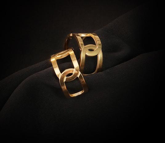 einfache hohle titanstahl vergoldete Ohrringe Großhandel Nihaojewelry NHAB402345's discount tags