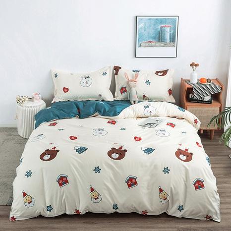 wholesale cartoon bear rabbit snowman printing bedding four-piece set nihaojewelry  NHGAD403077's discount tags