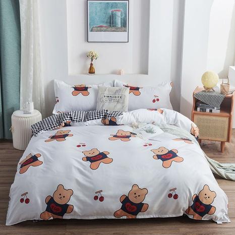 wholesale cartoon bear cherry printing bedding four-piece set nihaojewelry  NHGAD403076's discount tags