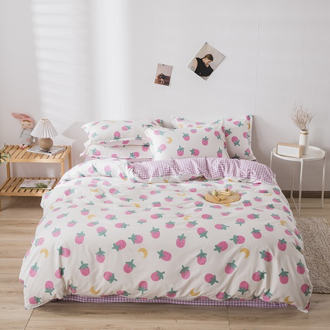 wholesale pink strawberry moon printing bedding four-piece set nihaojewelry  NHGAD403075's discount tags