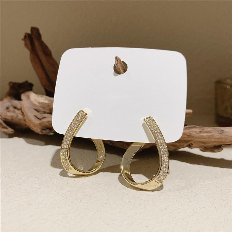 Hollow Water Drops Full Diamond Cross Earrings Wholesale Nihaojewelry NHBQ402535