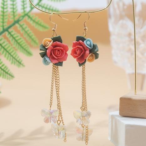 Bohemian long clay flower crystal butterfly tassel earrings wholesale Nihaojewelry NHLA402552's discount tags