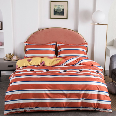 wholesale hit color stripe printing bedding four-piece set nihaojewelry  NHGAD403073's discount tags