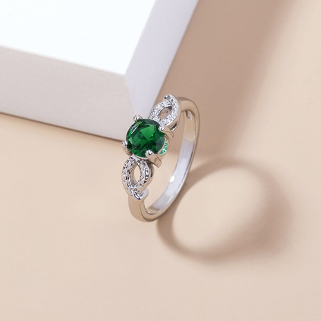 fashion green gemstone micro-inlaid zircon copper ring wholesale Nihaojewelry  NHDB402596's discount tags