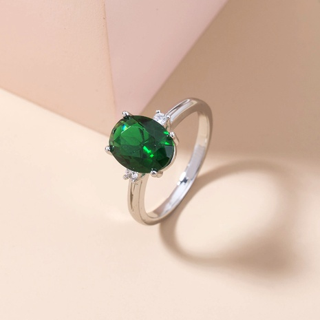new emerald green gemstone micro-inlaid zircon copper ring wholesale Nihaojewelry  NHDB402599's discount tags