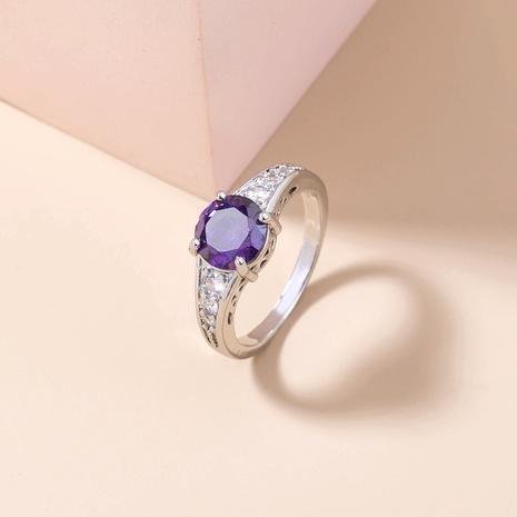 Korean inlaid zirconium violet gem copper ring wholesale Nihaojewelry  NHDB402600's discount tags