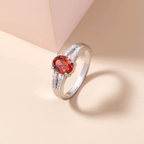 fashion pomegranate red gemstone micro-inlaid copper ring wholesale Nihaojewelry  NHDB402601's discount tags