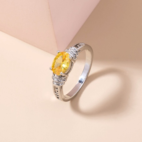simple golden yellow gemstone micro-inlaid zircon copper ring wholesale Nihaojewelry  NHDB402603's discount tags