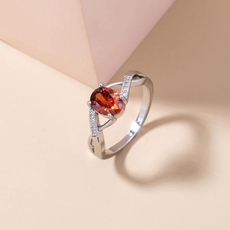 fashion oval garnet red zircon copper ring wholesale Nihaojewelry  NHDB402602's discount tags