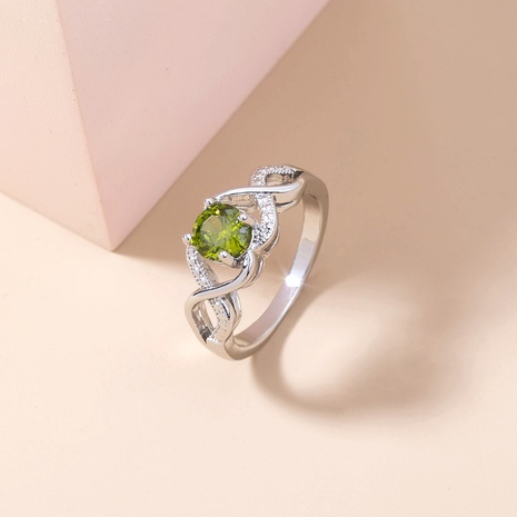 retro style olive green big gem copper ring wholesale Nihaojewelry  NHDB402604's discount tags