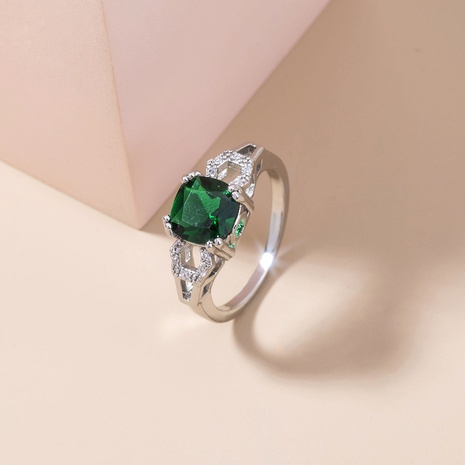 new fashion emerald green zircon micro-inlaid copper ring wholesale Nihaojewelry  NHDB402606's discount tags