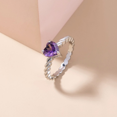 simple peach heart violet big gem copper ring wholesale Nihaojewelry  NHDB402609's discount tags
