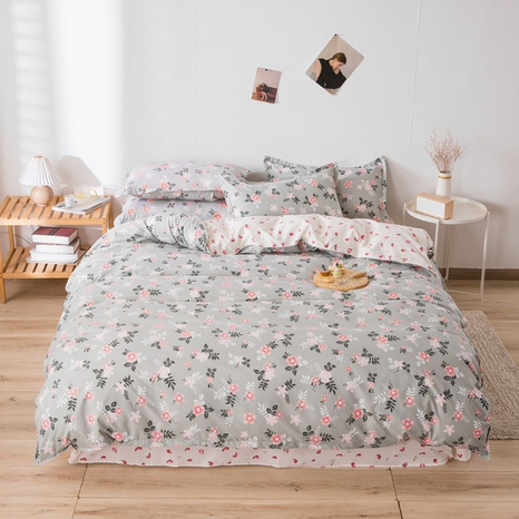 wholesale pink floral printing gray bedding four-piece set nihaojewelry  NHGAD403070's discount tags