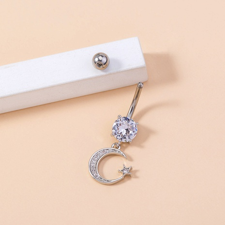 micro-inlaid moon star shape copper belly button nail wholesale Nihaojewelry NHDB402674's discount tags