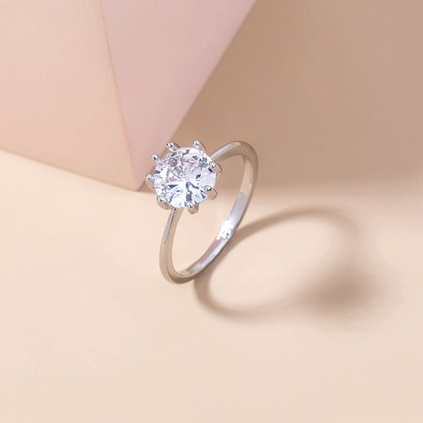 new simple white gemstone micro-inlaid zircon copper ring wholesale Nihaojewelry  NHDB402676's discount tags