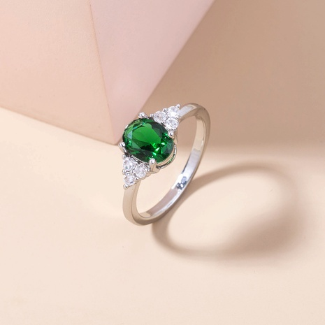 fashion oval emerald green gemstone copper ring wholesale Nihaojewelry  NHDB402677's discount tags