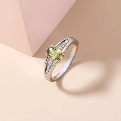 simple micro-inlaid zircon oval olive green gem ring wholesale Nihaojewelry  NHDB402678's discount tags