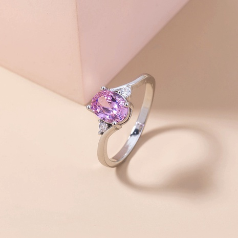 creative new pink zircon micro-inlaid copper ring wholesale Nihaojewelry  NHDB402682's discount tags