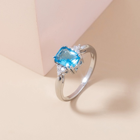 new fashion square lake sapphire copper ring wholesale Nihaojewelry  NHDB402681's discount tags