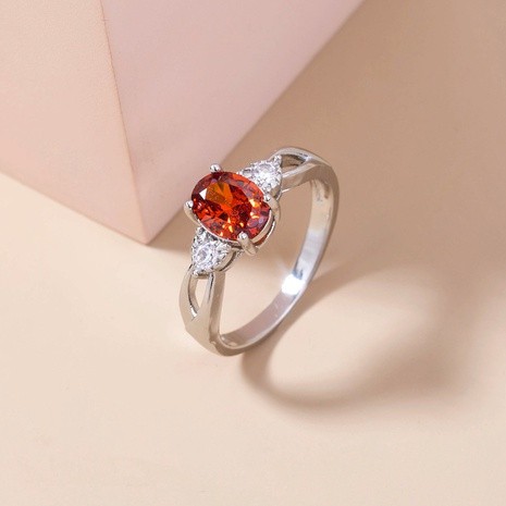 new oval red gemstone copper ring wholesale Nihaojewelry  NHDB402683's discount tags