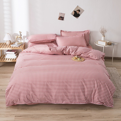 wholesale red plaid printing bedding four-piece set nihaojewelry  NHGAD403069's discount tags