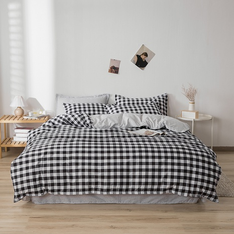 wholesale black white gray plaid printing bedding four-piece set nihaojewelry  NHGAD403066's discount tags