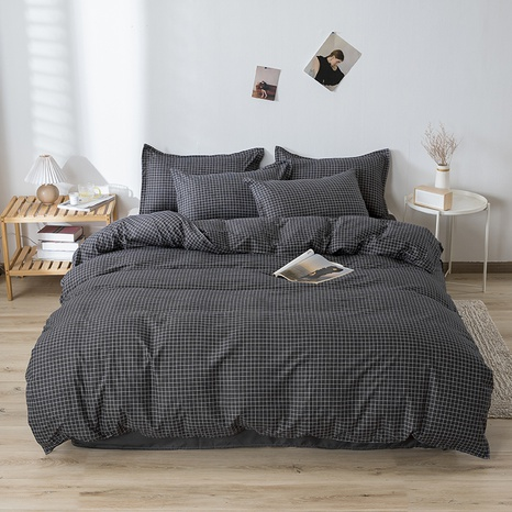 wholesale black plaid printing bedding four-piece set nihaojewelry  NHGAD403067's discount tags