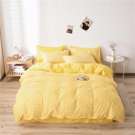 wholesale yellow plaid printing bedding four-piece set nihaojewelry  NHGAD403064's discount tags