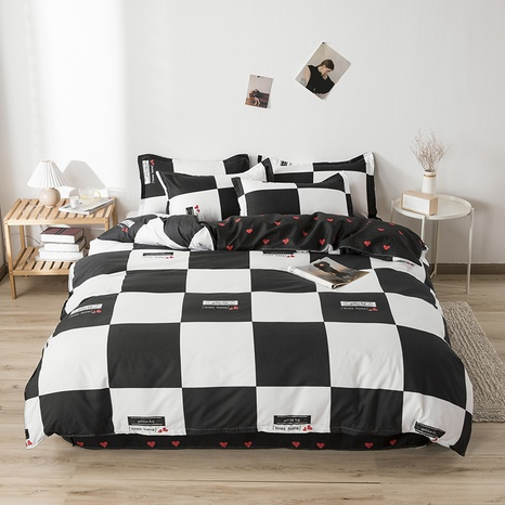 wholesale white black plaid printing bedding four-piece set nihaojewelry  NHGAD403065's discount tags