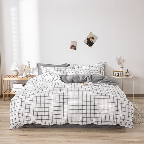 wholesale white plaid printing bedding four-piece set nihaojewelry  NHGAD403063's discount tags