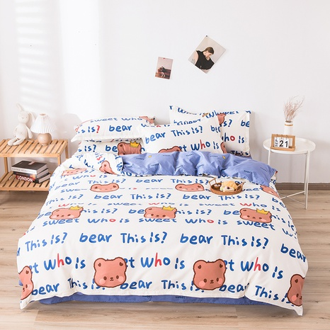 wholesale cartoon bear letter pattern printing bedding four-piece set nihaojewelry  NHGAD403059's discount tags