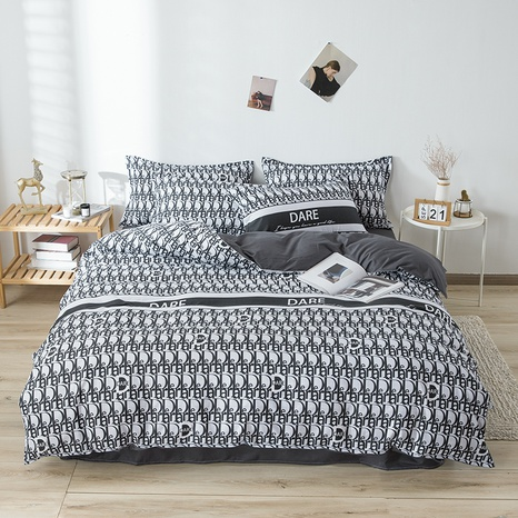 wholesale geometric pattern letter printing bedding four-piece set nihaojewelry  NHGAD403058's discount tags