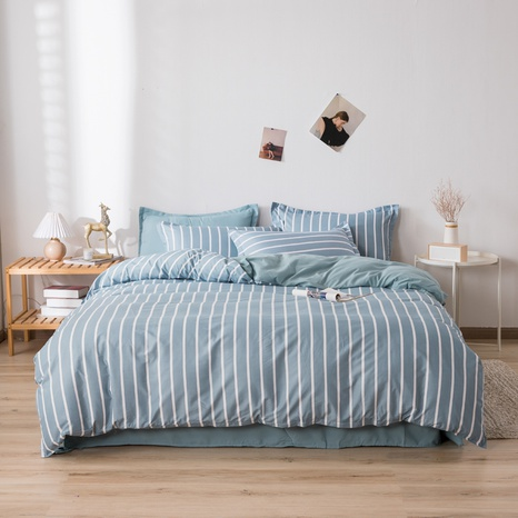 wholesale blue stripe printing bedding four-piece set nihaojewelry  NHGAD403056's discount tags