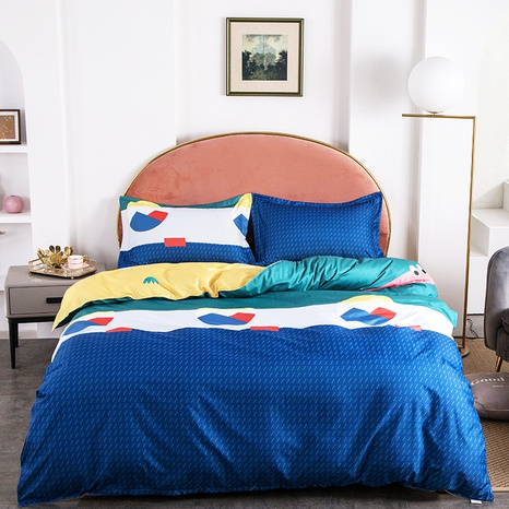 wholesale geometric hit color pattern printing bedding four-piece set nihaojewelry  NHGAD403055's discount tags
