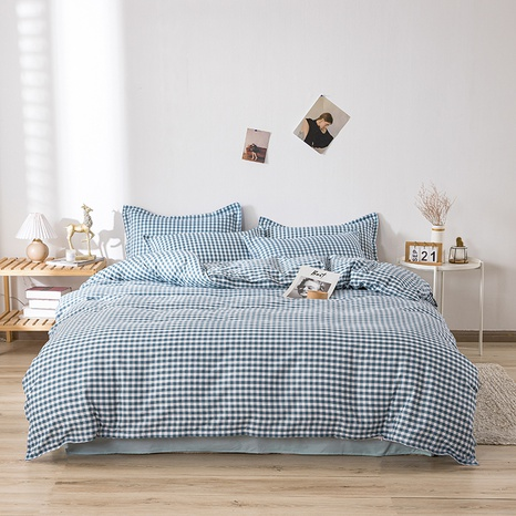 wholesale blue plaid printing bedding four-piece set nihaojewelry  NHGAD403054's discount tags
