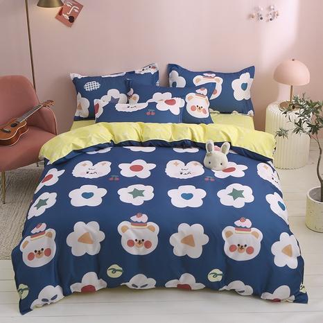wholesale cartoon flower bear pattern printing bedding four-piece set nihaojewelry  NHGAD403053's discount tags