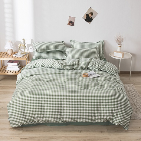 wholesale green plaid printing bedding four-piece set nihaojewelry  NHGAD403052's discount tags